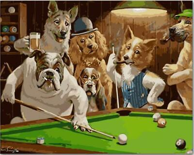 Dogs Playing Pool Billiard by Cassius Marcellus Coolidge - Paint-By-Number -