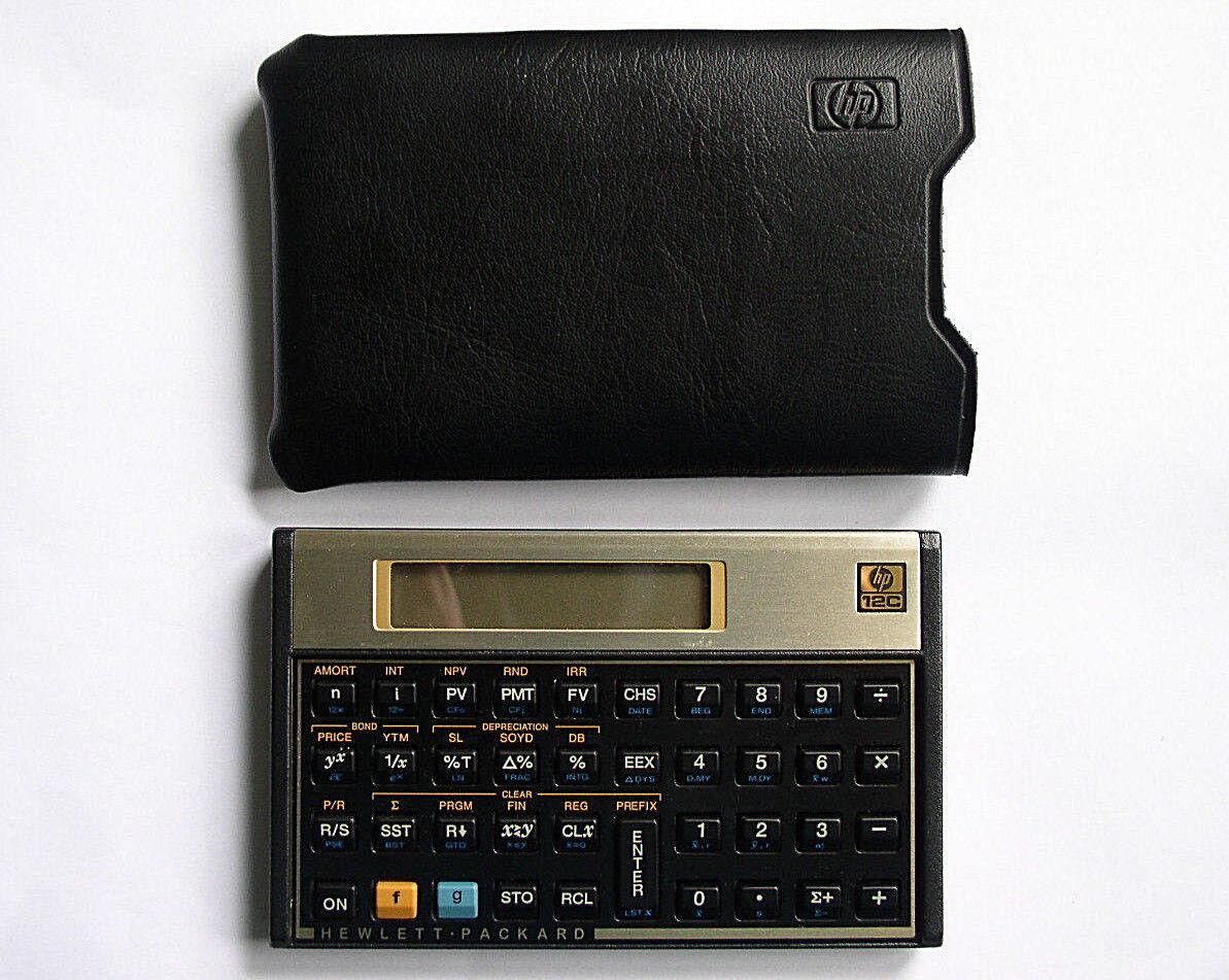 Hewlett Packard hp 12C Vintage Financial Business Calculator &  Clean Case