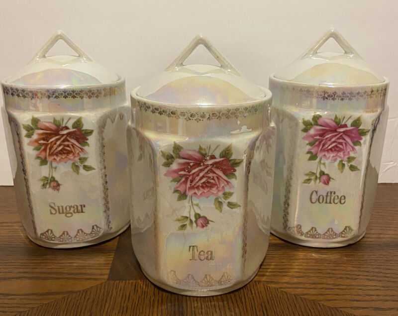 Antique Vtg Lusterware Canister Set Rose Mother Of Pearl Germany Six Sided Rare!