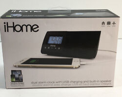 iHome iHM46BC Portable Dual Alarm Clock USB Charge Built-In Speaker Audio Cable