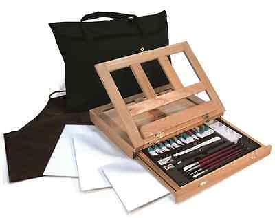 WATERCOLOUR PAINTING SET STORAGE TABLE EASEL PAINTS BRUSHES & CANVAS REA4902