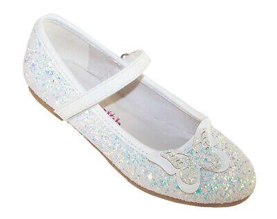 Mädchen Kinder Weiß Glitzer Funkelnd Ballerina Party Schuhe Anlass Blumenmädchen ()