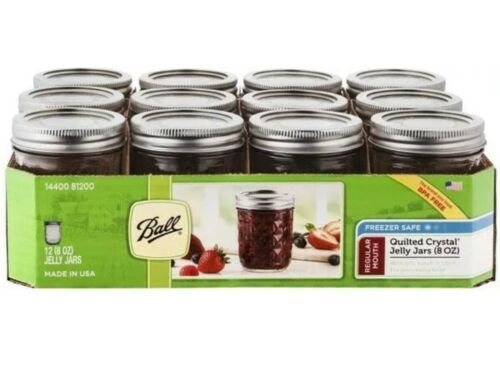 12 x Ball Regular Mouth Jar Lids Canning Bands Jelly Crystal