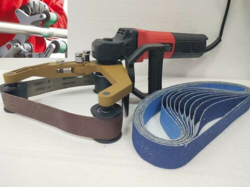 Pipe Polisher 10 Zirconia Sanding Belt Burnisher 2 Carbon Brush metal wood renew