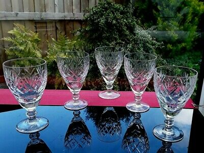 5 VINTAGE CRYSTAL VODKA PORT SHOT GIN LIQUER GLASSES ROYAL DOULTON GEORGIAN