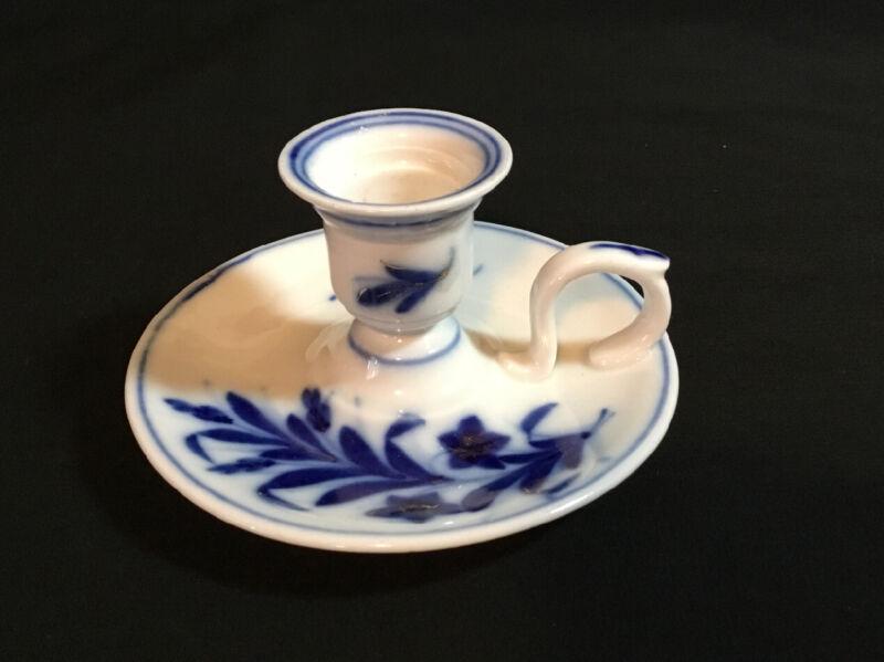 Antique Porcelain Flo Blue Chamber Candlestick Holder, Gold Gild Highlights