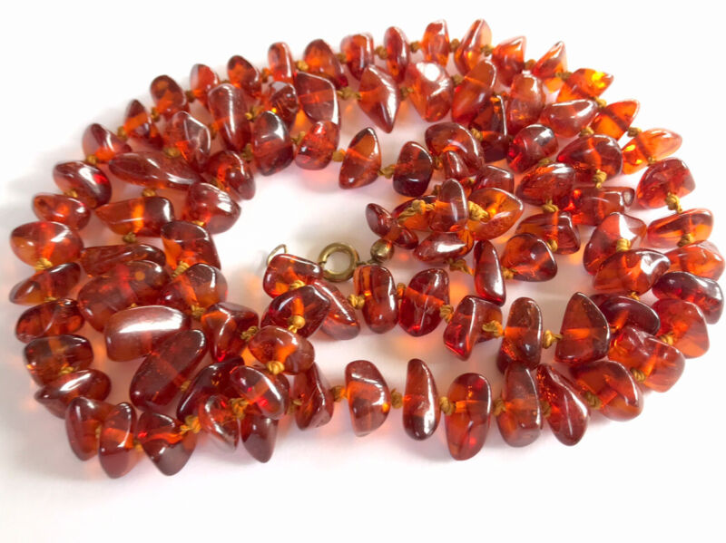 """Antique Vintage Hand Knotted Honey Cognac Amber Chip Graduated 31"""" Necklace 31g"""