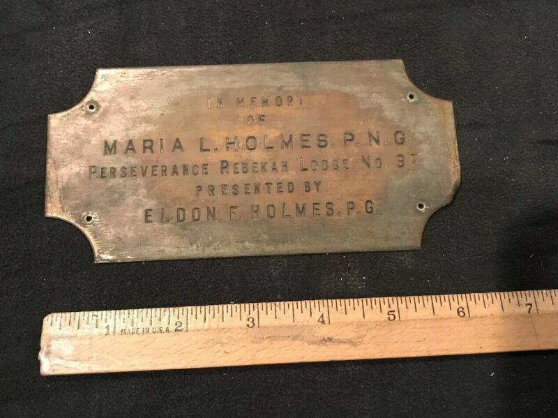 Old Antique Vintage Brass Plate Perseverance Rebekah Lodge No. 97 Odd Fellows