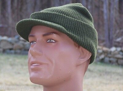 Jeep Hat MASH Military Knit Cap NEW Made in USA 100% Wool Green & M1Helmet Liner