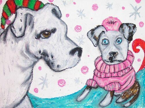 AMERICAN BULLDOG Winter Fashion Dog Pop Outsider Vintage Art 8 x 10 Signed Print