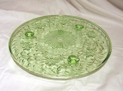 Vintage US Glass Shaggy Rose Green Depression Glass Vaseline Uranium Cake Plate