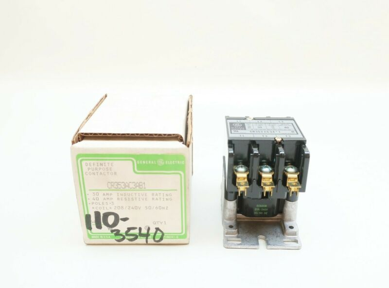 General Electric Ge CR353AC3AB1 1ph 3p 208/240v-ac 40a Amp Ac Contactor