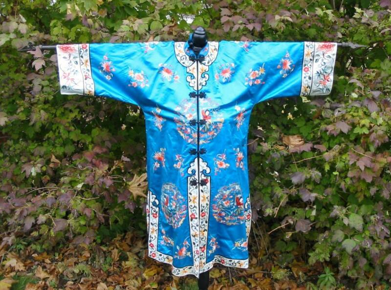 Vintage Chinese Turquoise Blue Silk Embroidered Lady Sword Fighter Robe Jacket