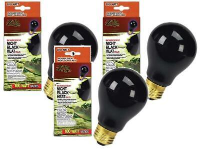 (3 Pack) Zilla Reptile Terrarium Heat Lamp Incandescent Bulbs, Night Black, -