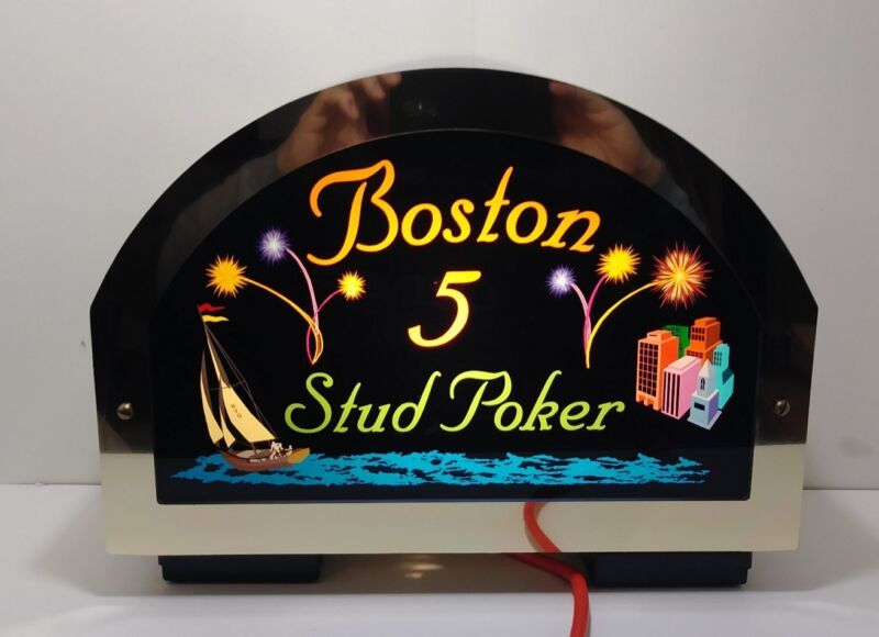 Casino Table Sign Lighted Boston Stud 5 Draw Poker Double Sided NIB