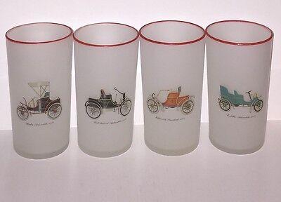 Set of 4 Vintage FROSTED ANTIQUE CAR DESIGN BAR GLASSES