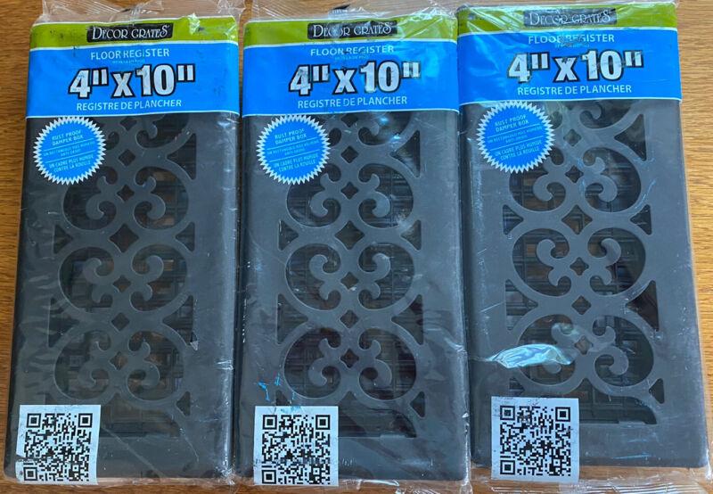 "Decor Grates ST410 Scroll Floor Register, Textured Black, 4""x10"", LOT OF 3!"