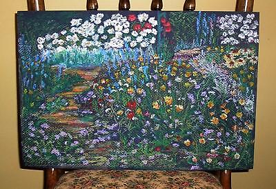 VINTAGE PERENNIAL ANNUAL GARDEN FLOWERS WILDFLOWERS SAND PATH PASTEL PAINTING