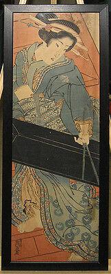 Keisai Eisen Rare Early 1800s Kakemono Woodblock Geisha Carrying Shamisen Box