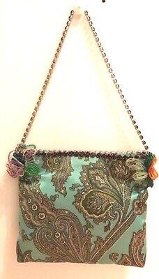DOLCE & GABBANA GREEN PRINTED PURPLE CRYSTAL CHAIN CLUTCH (Dolce And Gabbana Purple Purse)