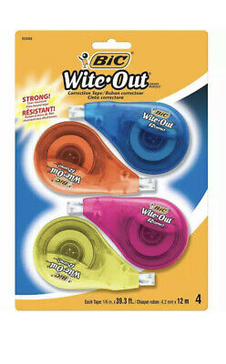 Bic Wite-out Ez Correction Tape 16 X 400 4 Dispensers Bicwotapp418