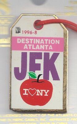 1996 Atlanta Luggage Destination Tag Olympic Pin JFK I Love NY New York Heart