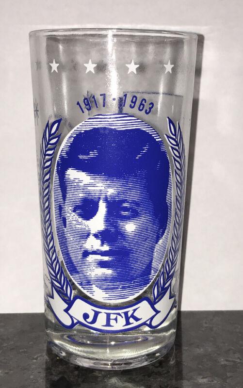 JFK Vintage Memorial Collector Drinking Glass 1917-1963 President John F Kennedy