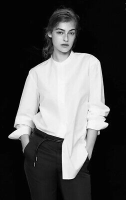NEW +J UNIQLO JIL SANDER Women Supima Cotton Stand Collar Shirt White US Medium