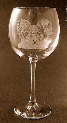 New Etched Papillon on Large Elegant Wine Glasses - Set of 2