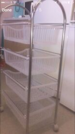 4 tier Fruit Vegetable rack in excellent like new condition Stainless steel stand Basket
