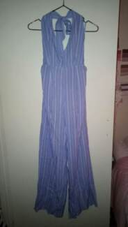 BRAND NEW Size 10 Blue and White Halter Neck Jumpsuit