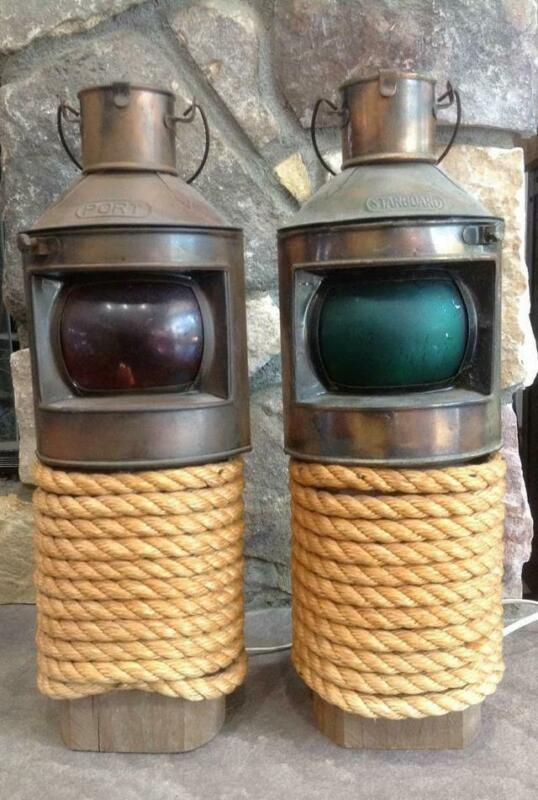 2 Vintage Copper Nautical Ship Oil Lamp Lantern Light PORT & STARBOARD Nautical
