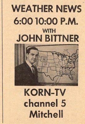 1966 Korn Tv Ad John Bittner Mitchell South Dakota Weather News Channel 5
