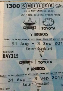 4 tickets NRL Cowboys v Broncos Premium Eastern Grandstand Mango Hill Pine Rivers Area Preview