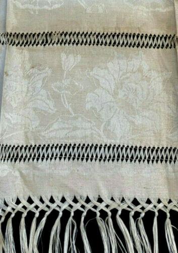 """UNUSED antique linen damask towel 36x22"""" Art Nouveau lotus patt, knotted fringe"""