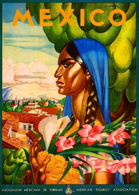 Mexico Senorita Mexican Spanish Vintage Travel Advertisement Art Poster
