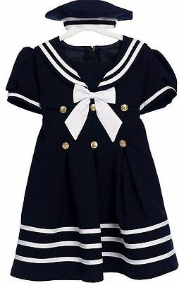 Girls Sailor Dress Nautical With Hat Infant Toddler 2T-4T Custom Baby Dress New - Sailor Costume