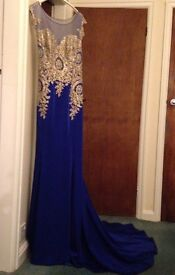 Prom Dress/Evening Dress - Blue embellished with gold beading, train. Size 10