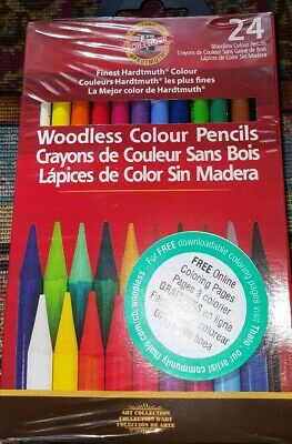 24 Finest Hardtmuth Colour Woodless Pencils KOH-I-NOOR FREE ONLINE COLORING  - Online Art Supplies