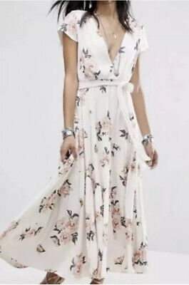 """New! NWT Size 6 Free People """"All I Got"""" Rayon Tiered V-neck Maxi Dress Floral"""