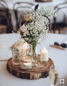 Jars for 8 wedding centrepieces
