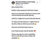 Mother's Day weekend offer Tenby Kiln Park 3 bedroom caravan