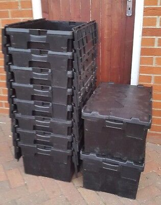 6 X 60ltr Heavy Duty Plastic Storage Totes / Crates / Moving Boxes / ALC