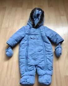 Blue baby snowsuit