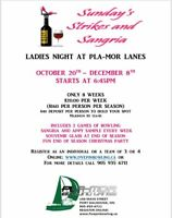 Ladies Night at Pla-Mor Lanes, Bowling, munchies and Sangria!!!!