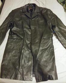Black Leather 3/4 length jacket sz Large