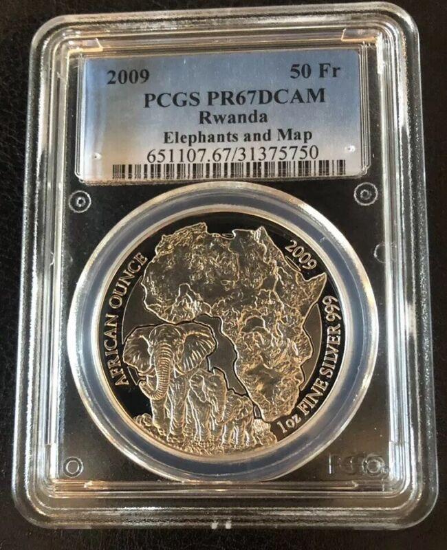 2009 Rwanda Elephant PROOF 50 Franc 1 Oz .999 Silver Coin PCGS PR67 *Very Rare*