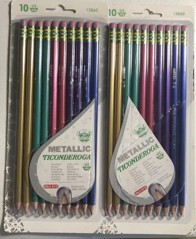 Ticonderoga Metallic Colored Pencils #2 - Lot Of 2 Packages -20 Pencils in Total