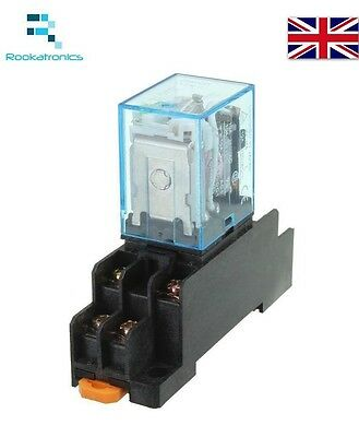 12V DC 8 Pin Relay DPDT with Socket Base Included High Quality Free Postage 8 Pin Relay Socket