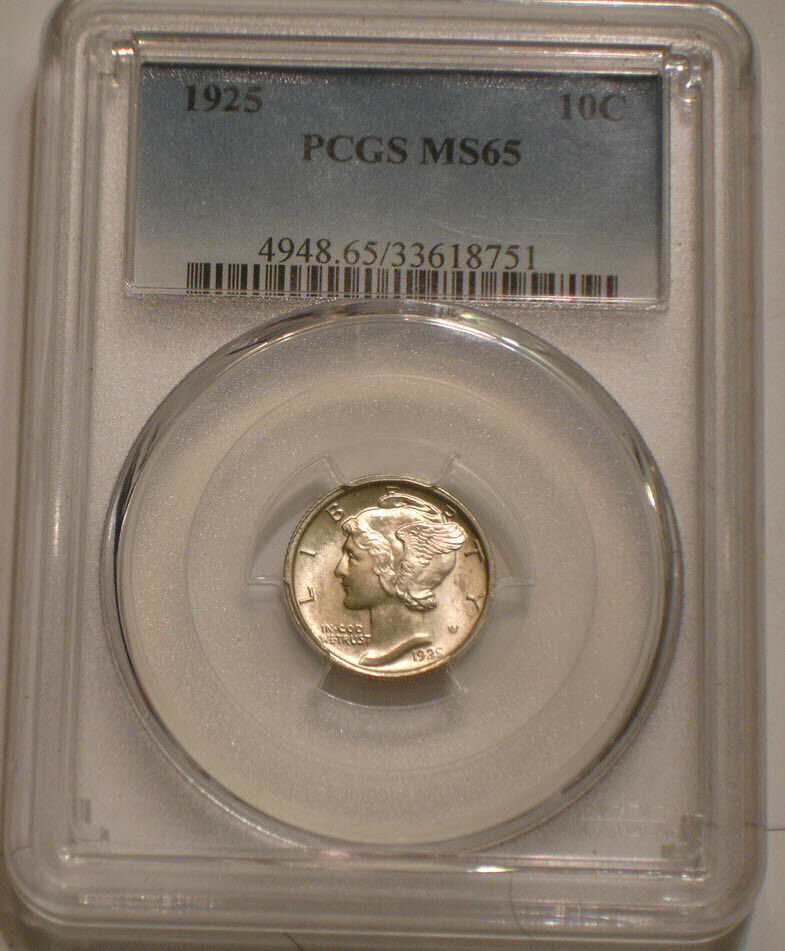 1925 P Mercury Dime PCGS MS 65 SPARKLING GEM Needle Sharp 99 FB Full Bands - $276.00